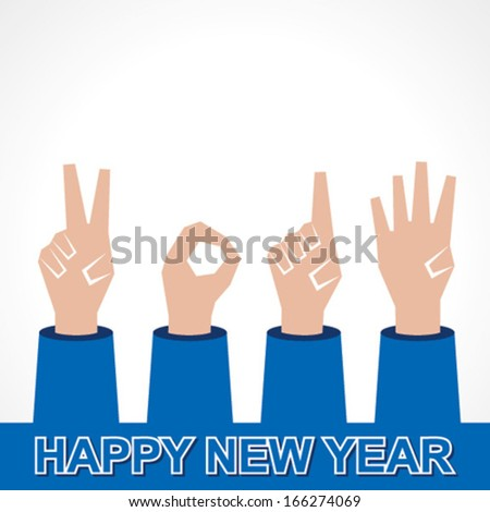 Creative new year,2014 concept with finger stock vector