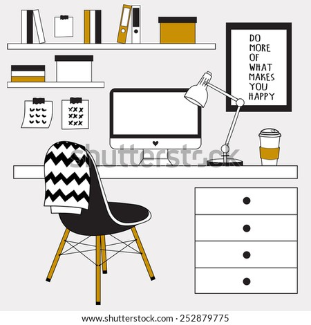 Creative office workspace, workplace with computer. Minimalistic style. The office of a creative worker. Vector illustration. - stock vector