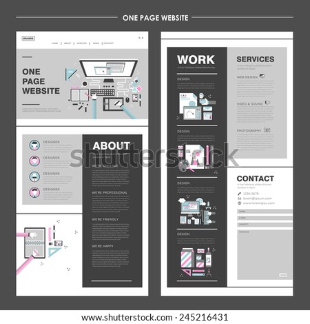 creative one page website design in flat design  - stock vector