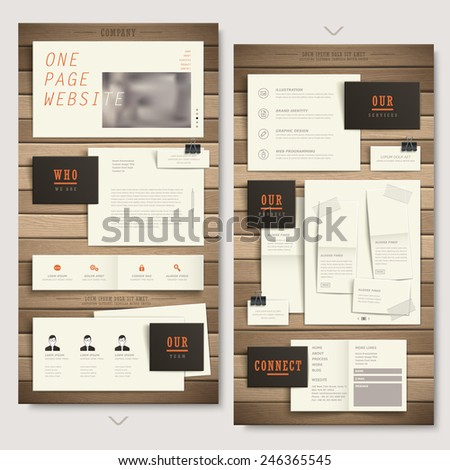 creative one page website design with paper and wooden texture elements - stock vector
