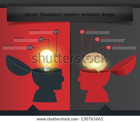 Creative open hand light bulb With brain concept, Vector illustration modern template design - stock vector
