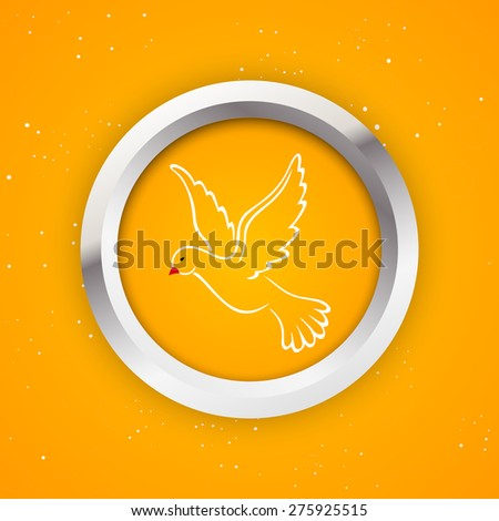 Creative orange color Badge for Pentecost Sunday with nice pigeon illustration as a holy sprint in a nice and creative orange color background.  - stock vector