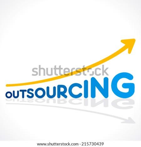 creative outsourcing word graph design vector - stock vector