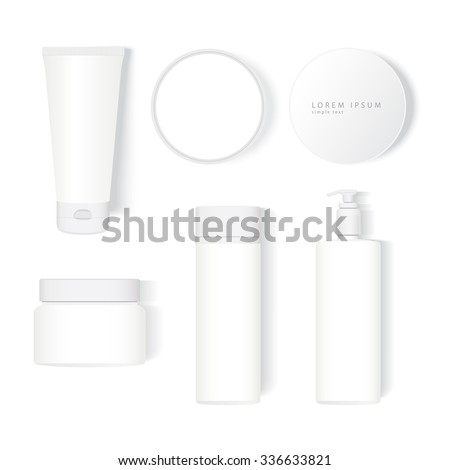 Creative package template with top view: tube, jar, bottle, spray in realistic style. White model perfectly for presentation cosmetic design or concept.  Vector illustration easy editing, not tracing. - stock vector
