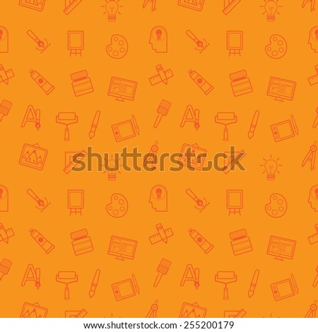 Creative painting and art seamless vector background - stock vector