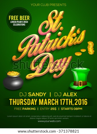 Creative Pamphlet, Banner or Flyer design for St. Patrick's Day Party celebration. - stock vector