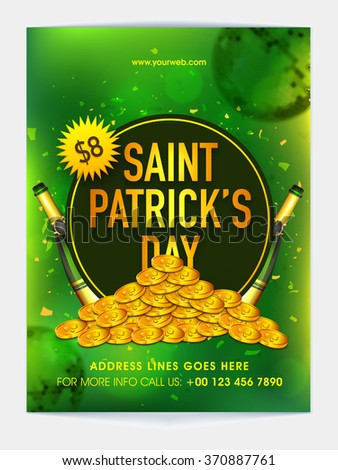 Creative Pamphlet, Banner or Flyer design with golden coins for St. Patrick's Day Party celebration. - stock vector