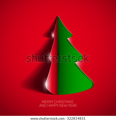 Creative paper Christmas tree, Curled Corner Paper style, Vector Illustration