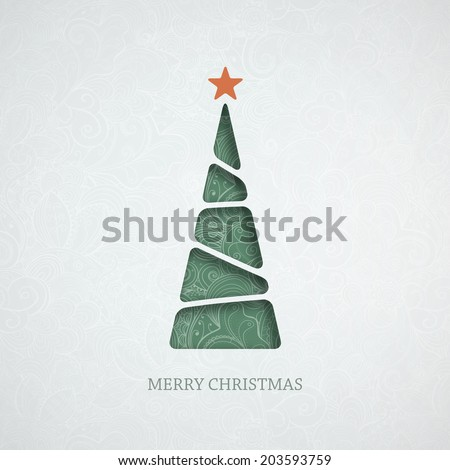 Creative paper Christmas tree. Eps10 vector Illustration. - stock vector