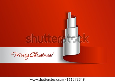 Creative paper Christmas tree. Vector Illustration.  - stock vector