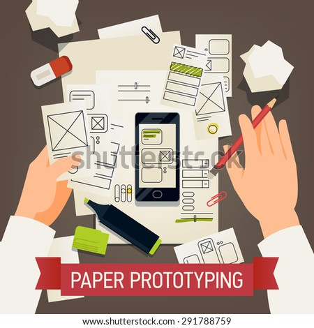 Creative paper prototyping detailed vector concept design | Application making process with specialist working on software interface usability and ergonomic design using paper elements - stock vector