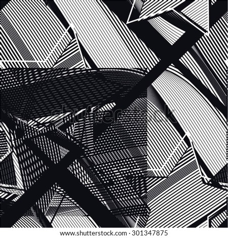 Creative pattern of curved lines, square, star, seamless vector background. - stock vector