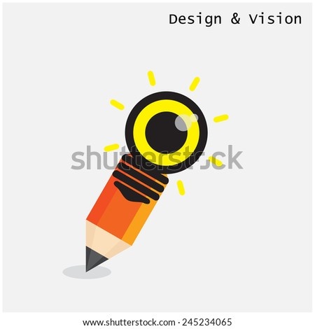 Creative pencil and light bulb design with vision concept. Flat design style modern concept. Vector illustration  - stock vector