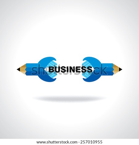 creative pencil hand connecting business idea concept - stock vector