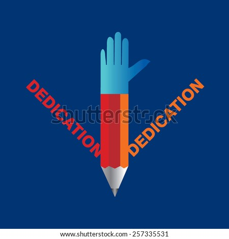 creative pencil hands dedication concept vector - stock vector