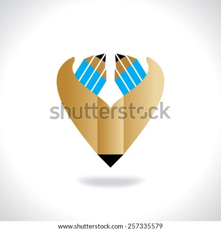 creative pencil hands education concept vector - stock vector