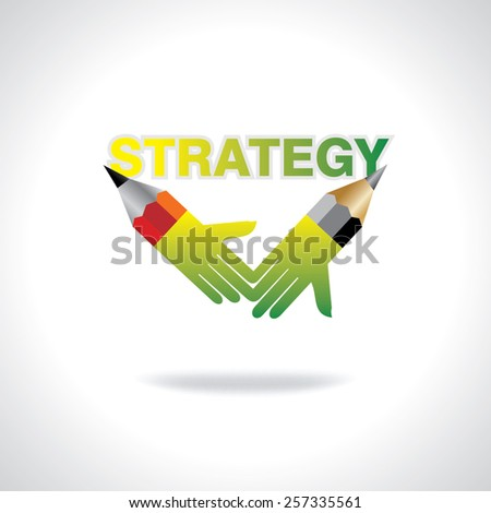 creative pencil hands strategy concept vector - stock vector