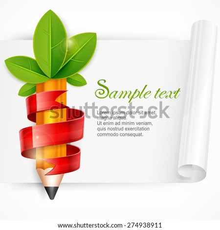 Creative pencil with green leaves and red ribbon, vector illustration  - stock vector