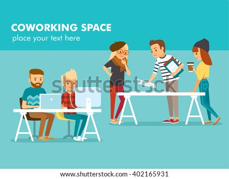 creative people working in co working office - stock vector