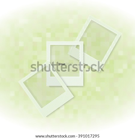 Creative Photo Frames Composition for with a Low Resolution Green Bright Back - stock vector
