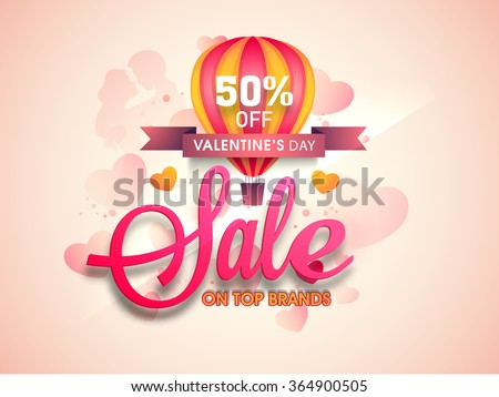 Creative Poster, Banner or Flyer design of Sale with 50% discount offer on Top Brands for Happy Valentine's Day celebration. - stock vector