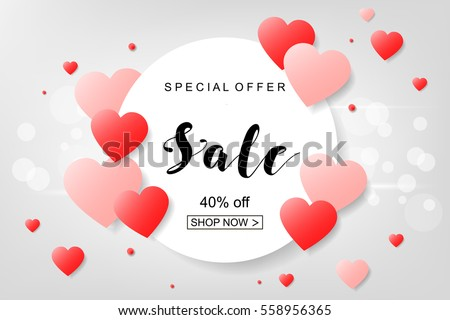 Creative Poster, Banner or Flyer design of Sale with 50% discount offer on Top Brands for Happy Valentine's Day celebration.