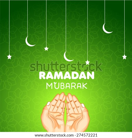 Creative poster, banner or flyer design with praying human hands illustration on shiny green background. - stock vector