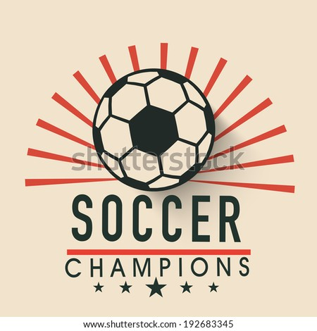 Creative poster, banner or flyer design with shiny soccer ball and stylish text soccer champion on stylish background.  - stock vector