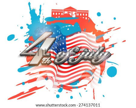 Creative poster, banner or flyer with glossy silver text 4th of July on national flag color splash background for American Independence Day celebration. - stock vector