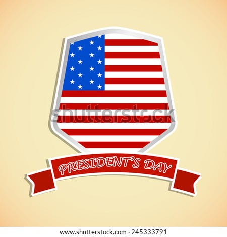 Creative President day badge with American flag effect  - stock vector
