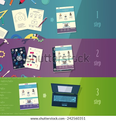 Creative process branding web design development process concept flat icons set  and vector web banners illustration print materials website click infographics elements collection - stock vector