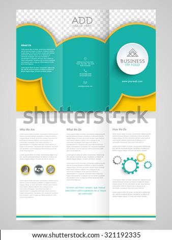Brochure Design Template Trifold Leaflet Colored Stock Vector - Free tri fold brochure design templates