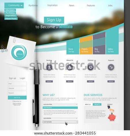 Creative Professional Website Template Design, Open Brochure - stock vector