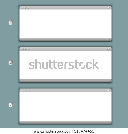 Creative Progress background with three browser windows. Vector eps10