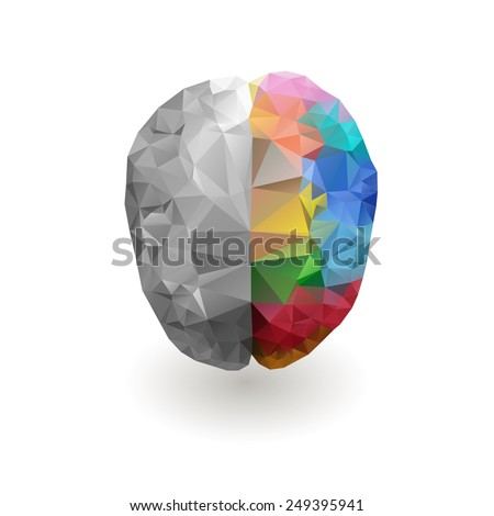 Creative psychology concept of the human psychology, vector illustration  psychology intelligence emotional concept right and left psychology of brain - stock vector