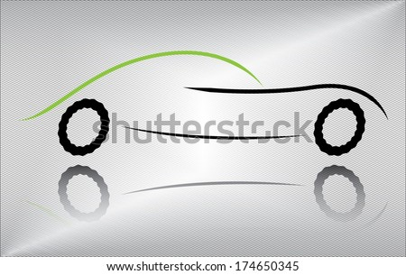Creative race car vector illustration. Outline of a sport vehicle in motion. Abstract black and green auto design on metallic background.  - stock vector