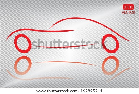 Creative red car on metallic background. Easy to edit eps10 vehicle vector. Red transportation emblem vector. - stock vector
