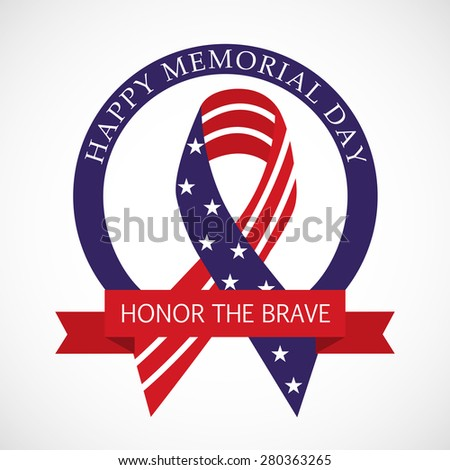 Creative Ribbon with USA Flag For Memorial Day. - stock vector