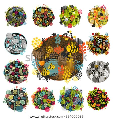 Creative round print with floral elements.Vector background with animals and birds. - stock vector
