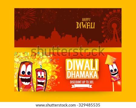 Creative Sale website header or banner set with 30% discount offer for Indian Festival of Lights, Happy Diwali celebration. - stock vector