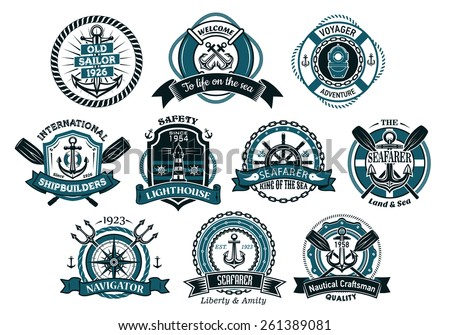 Creative seafarers or nautical logos and banners with rope, anchor, trident, helm, chains, life buoy and oar - stock vector