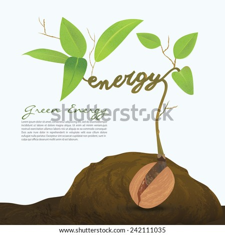 Creative seed idea abstract info graphic, concept image of small plant sprout, Vector illustration. - stock vector