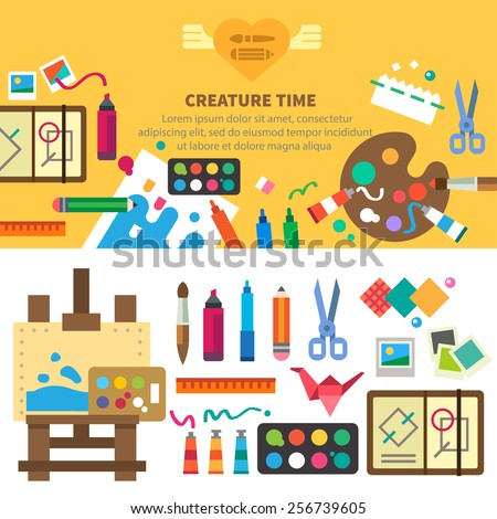 Creative set for artist. Ideas, creativity, design. Tools and materials: paint, brushes, markers , pencil, scissors, ruler, easel, palette. Vector flat illustrations and background - stock vector