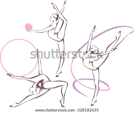 Creative set of gymnastic girl vector illustration - stock vector