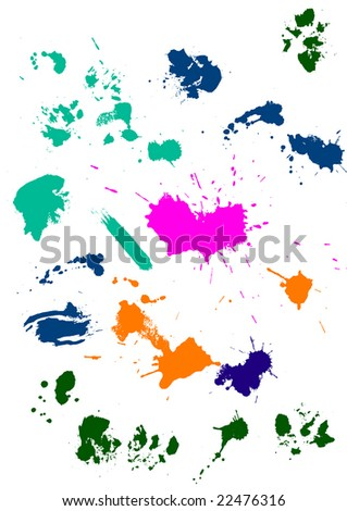 Creative set of inkblot and splashes silhouettes - stock vector