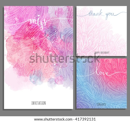 creative Set pink blue universal cards. Art background with curls, watercolor stains. Wedding, anniversary, birthday, Valentin's day, party invitations, love, miss, thank you, congratulation. - stock vector