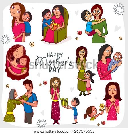Muslim Families Looking Happy Illustration Stock Vector ...
