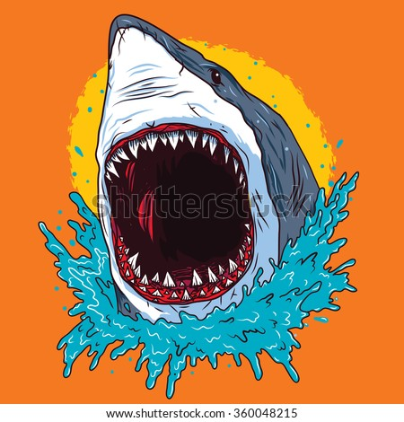 Creative Shark Attack - vector - stock vector