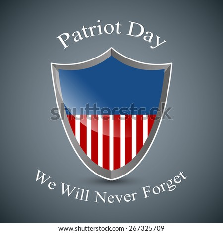 Creative shield with USA Flag for Patriot Day with nice and beautiful grey colour background. - stock vector