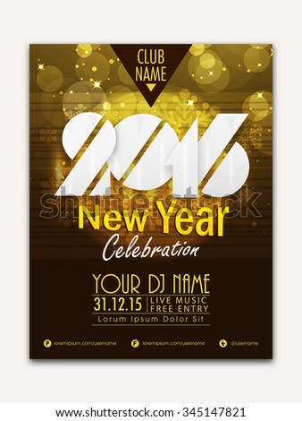 Creative shiny Flyer, Banner or Pamphlet design for Happy New Year 2016 celebration. - stock vector